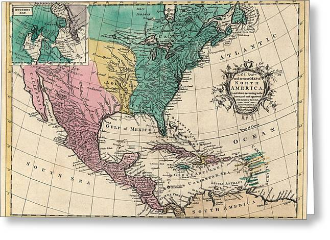 North Drawings Greeting Cards - Antique Map of North America by Richard William Seale - 1763 Greeting Card by Blue Monocle