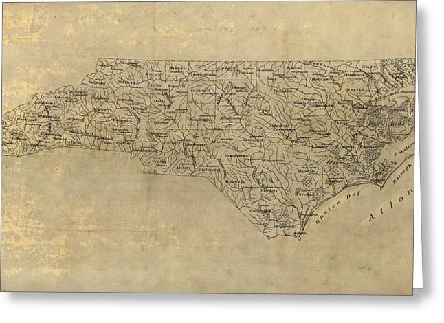 Antique Map Of North Carolina - 1893 Greeting Card by Blue Monocle