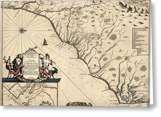 North Drawings Greeting Cards - Antique Map of North Carolina and South Carolina by Joel Gascoyne - 1682 Greeting Card by Blue Monocle