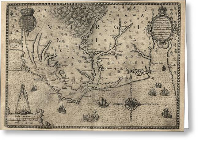 Lost Drawings Greeting Cards - Antique Map of North Carolina and Virginia by John White - 1590 Greeting Card by Blue Monocle