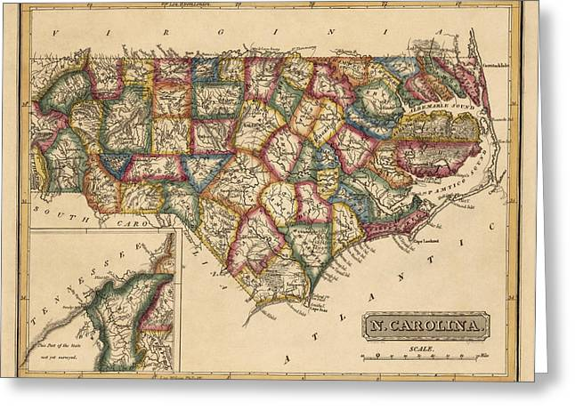 North Drawings Greeting Cards - Antique Map of North Carolina by Fielding Lucas - circa 1817 Greeting Card by Blue Monocle