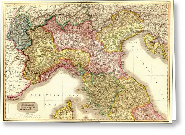 Old Country Roads Drawings Greeting Cards - Antique Map of Northern Italy 1809 Greeting Card by Mountain Dreams