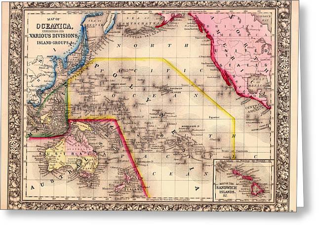 Old Country Roads Drawings Greeting Cards - Antique Map of Oceanica 1860 Greeting Card by Mountain Dreams