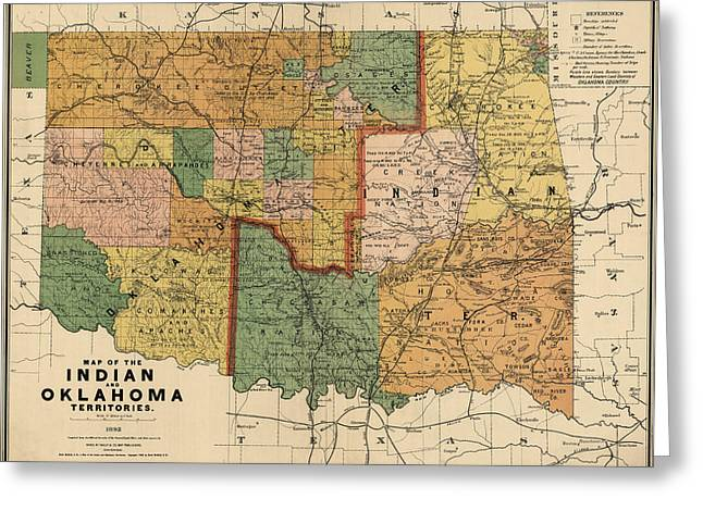 Antique Map Of Oklahoma By Rand Mcnally And Company - 1892 Greeting Card by Blue Monocle