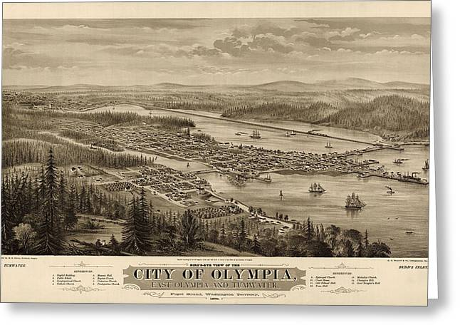 Olympia Greeting Cards - Antique Map of Olympia Washington by E.S. Glover - 1879 Greeting Card by Blue Monocle