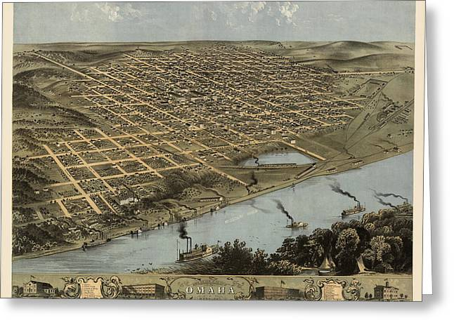 Omaha Greeting Cards - Antique Map of Omaha Nebraska by A. Ruger - 1868 Greeting Card by Blue Monocle
