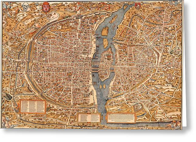 Illustrative Greeting Cards - Antique Map of Paris 1550 Greeting Card by Mountain Dreams