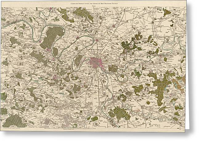 France Map Greeting Cards - Antique Map of Paris France by Cesar-Francois Cassini - 1789 Greeting Card by Blue Monocle