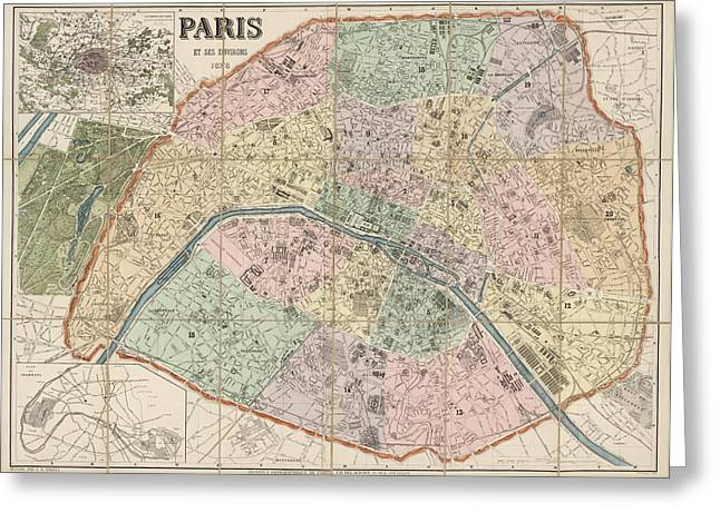 France Map Greeting Cards - Antique Map of Paris France by Delagrave - 1878 Greeting Card by Blue Monocle
