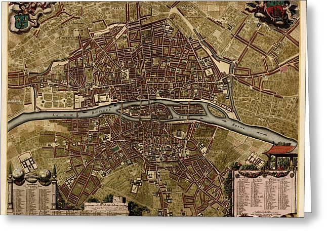 Jacobs Greeting Cards - Antique Map of Paris France by Jacob De La Feuille - circa 1710 Greeting Card by Blue Monocle