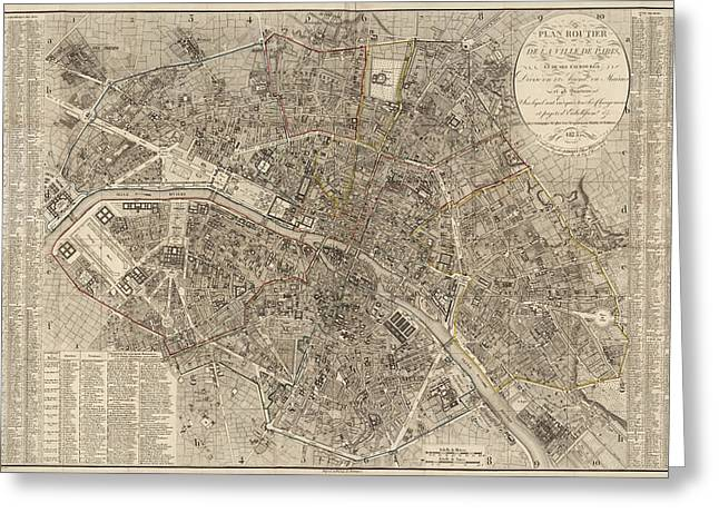 France Map Greeting Cards - Antique Map of Paris France by Ledoyen - 1823 Greeting Card by Blue Monocle