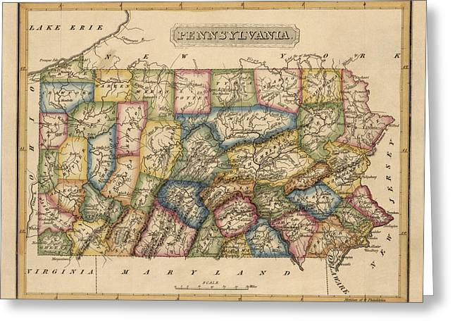 Pennsylvania Drawings Greeting Cards - Antique Map of Pennsylvania by Fielding Lucas - circa 1817 Greeting Card by Blue Monocle