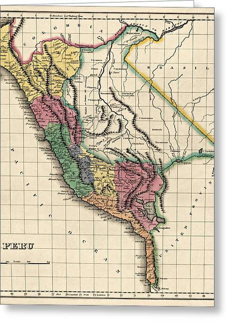 Peru Greeting Cards - Antique Map of Peru by Henry Charles Carey - 1822 Greeting Card by Blue Monocle