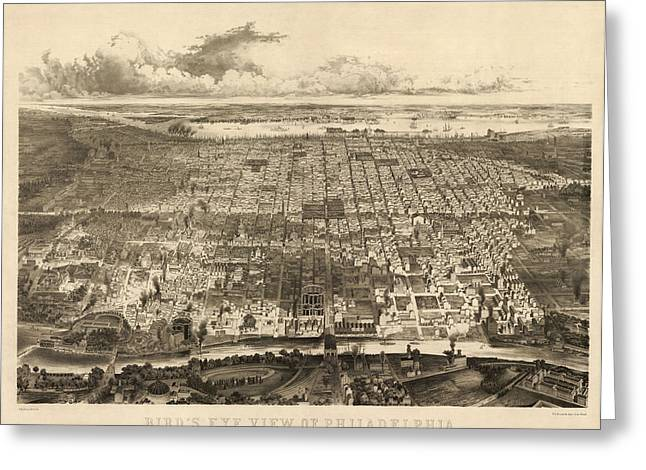 Philadelphia Greeting Cards - Antique Map of Philadelphia by John Bachmann - 1857 Greeting Card by Blue Monocle