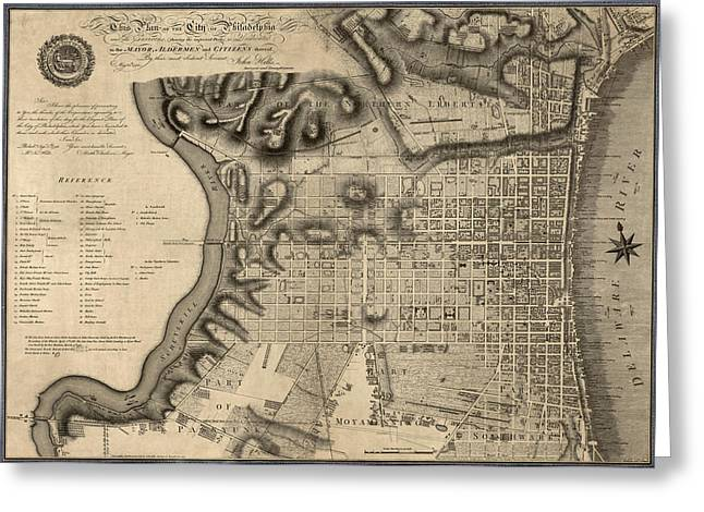 Pennsylvania Drawings Greeting Cards - Antique Map of Philadelphia by John Hills - 1797 Greeting Card by Blue Monocle