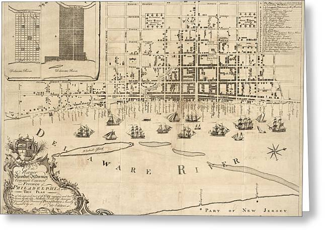 Sculling Greeting Cards - Antique Map of Philadelphia by Nicholas Scull - 1762 Greeting Card by Blue Monocle