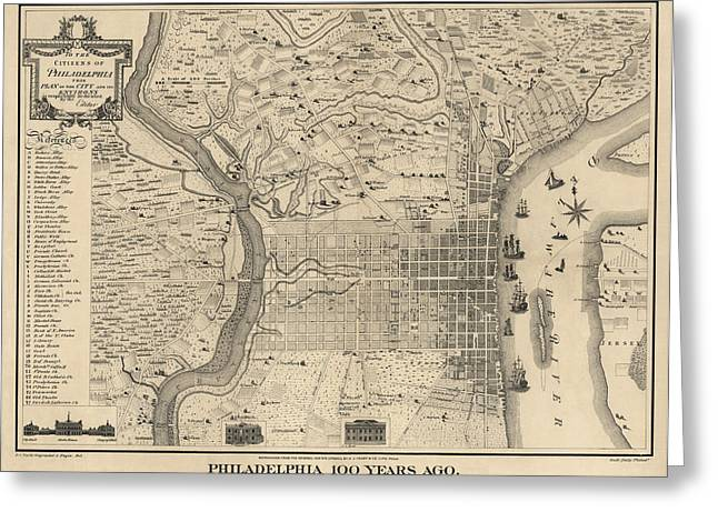 America Drawings Greeting Cards - Antique Map of Philadelphia by P. C. Varte - 1875 Greeting Card by Blue Monocle