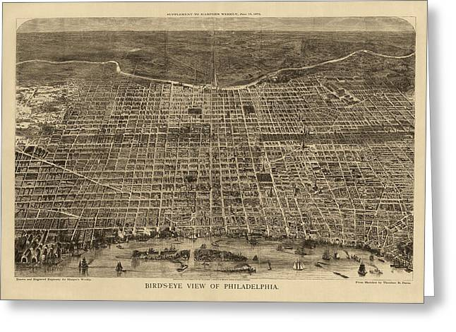 View Drawings Greeting Cards - Antique Map of Philadelphia by Theodore R. Davis - 1872 Greeting Card by Blue Monocle