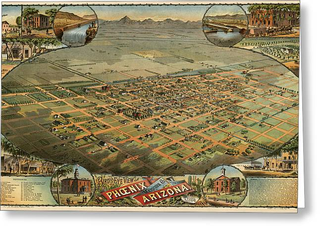 Universities Drawings Greeting Cards - Antique Map of Phoenix Arizona by C.J. Dyer - circa 1885 Greeting Card by Blue Monocle