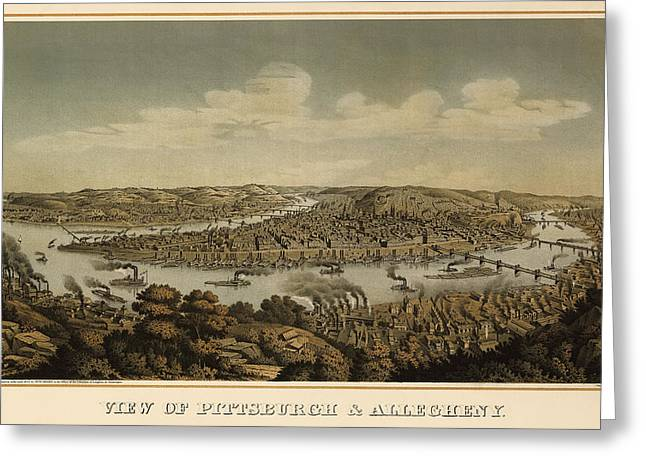 Pittsburgh Drawings Greeting Cards - Antique Map of Pittsburgh Pennsylvania by Otto Krebs - 1874 Greeting Card by Blue Monocle