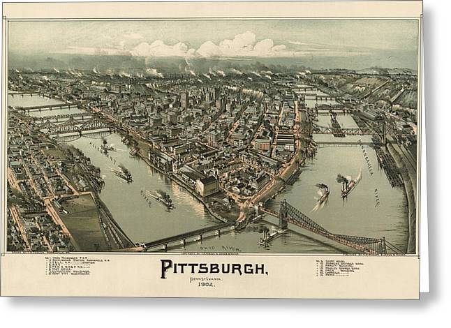 Pittsburgh Drawings Greeting Cards - Antique Map of Pittsburgh Pennsylvania by T. M. Fowler - 1902 Greeting Card by Blue Monocle