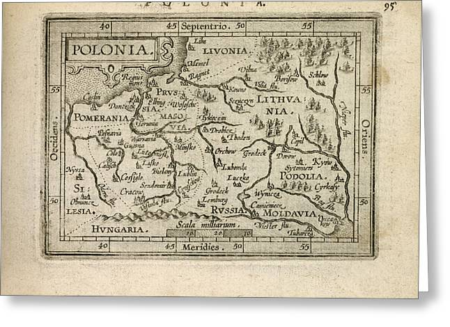Poland Art Greeting Cards - Antique Map of Poland by Abraham Ortelius - 1603 Greeting Card by Blue Monocle