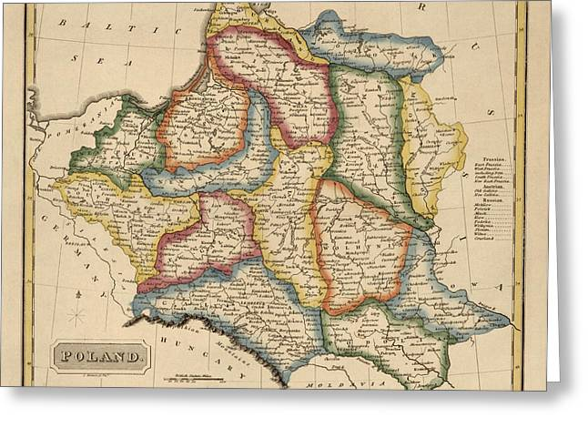 Poland Greeting Cards - Antique Map of Poland by Fielding Lucas - circa 1817 Greeting Card by Blue Monocle