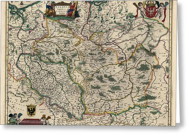 Poland Greeting Cards - Antique Map of Poland by Willem Janszoon Blaeu - 1647 Greeting Card by Blue Monocle