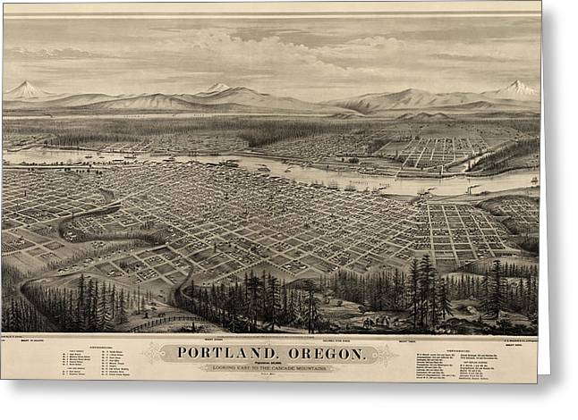 Portland Greeting Cards - Antique Map of Portland Oregon by E.S. Glover - 1879 Greeting Card by Blue Monocle