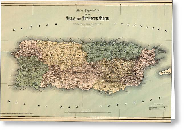 Puerto Rico Greeting Cards - Antique Map of Puerto Rico - 1886 Greeting Card by Blue Monocle