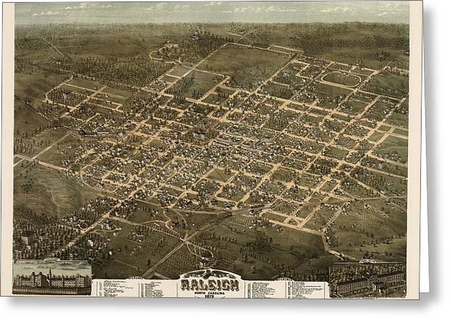 North Drawings Greeting Cards - Antique Map of Raleigh North Carolina by C. N. Drie - 1872 Greeting Card by Blue Monocle
