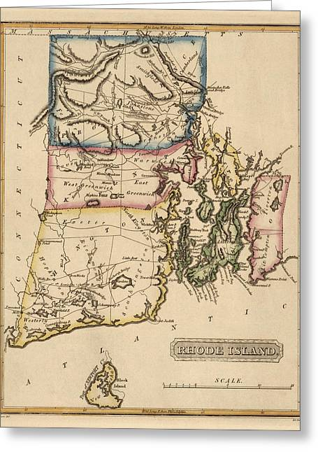 Islands Drawings Greeting Cards - Antique Map of Rhode Island by Fielding Lucas - circa 1817 Greeting Card by Blue Monocle
