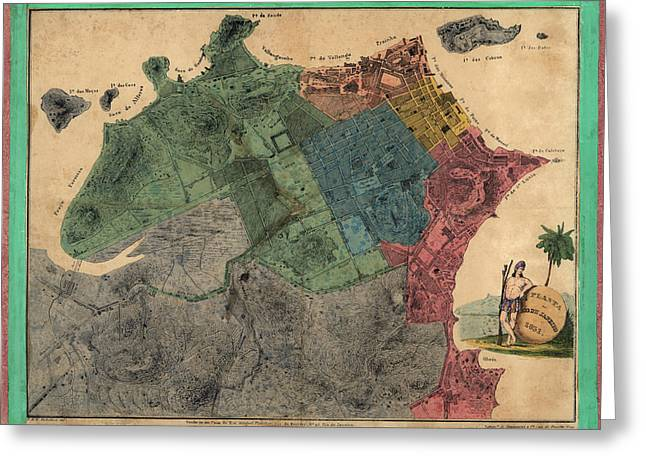 Rio Greeting Cards - Antique Map of Rio de Janeiro Brazil by de la Michellerie - 1831 Greeting Card by Blue Monocle