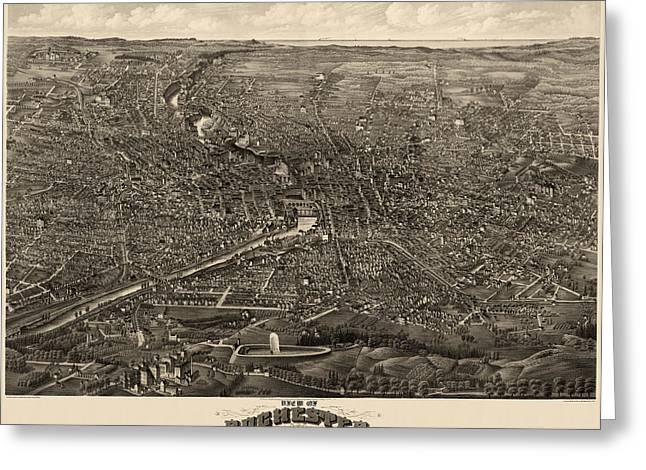 Rochester Greeting Cards - Antique Map of Rochester New York by H.H. Rowley and Co. - 1880 Greeting Card by Blue Monocle