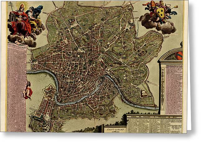 Antique Map Of Rome By Jacob De La Feuille - Circa 1710 Greeting Card by Blue Monocle