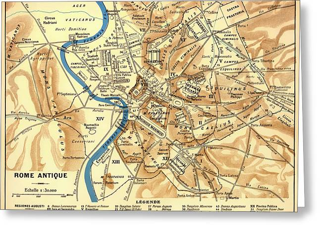 Old Country Roads Drawings Greeting Cards - Antique Map of Rome during Antiquity 1870 Greeting Card by Mountain Dreams