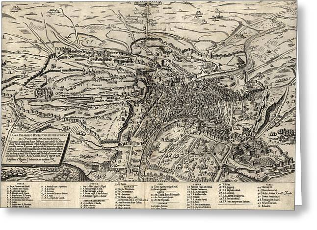 Antique Map Of Rome Italy By Sebastianus Clodiensis - 1561 Greeting Card by Blue Monocle