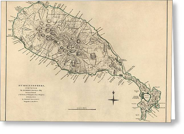 Saint Christopher Drawings Greeting Cards - Antique Map of Saint Kitts and Nevis by Thomas Jefferys - 1768 Greeting Card by Blue Monocle
