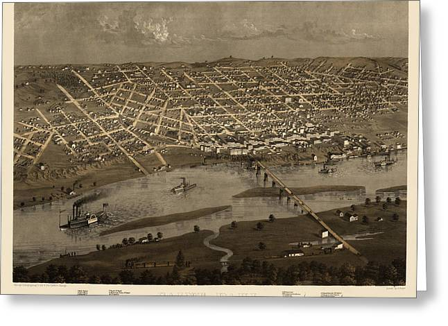 Saint Paul Greeting Cards - Antique Map of Saint Paul Minnesota by A. Ruger - 1867 Greeting Card by Blue Monocle