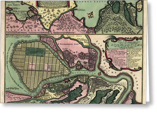 Antique Map Of Saint Petersburg Russia By Matthaeus Seutter - Circa 1734 Greeting Card by Blue Monocle