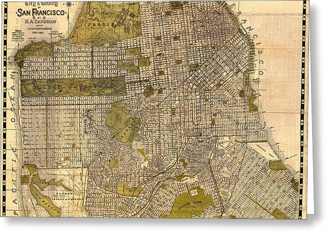 Illustrative Greeting Cards - Antique Map of San Francisco 1932 Greeting Card by Mountain Dreams