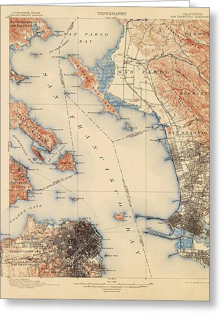 Geological Greeting Cards - Antique Map of San Francisco and the Bay Area - USGS Topographic Map - 1899 Greeting Card by Blue Monocle