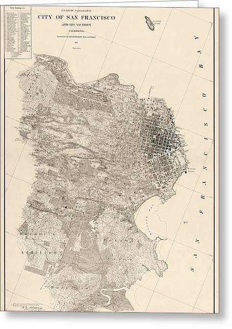San Francisco Drawings Greeting Cards - Antique Map of San Francisco by A. F. Rodgers - 1857 Greeting Card by Blue Monocle