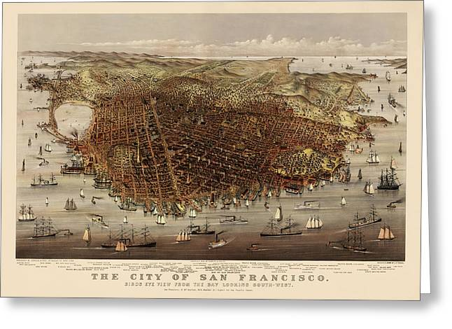 San Francisco Drawings Greeting Cards - Antique Map of San Francisco by Currier and Ives - circa 1878 Greeting Card by Blue Monocle