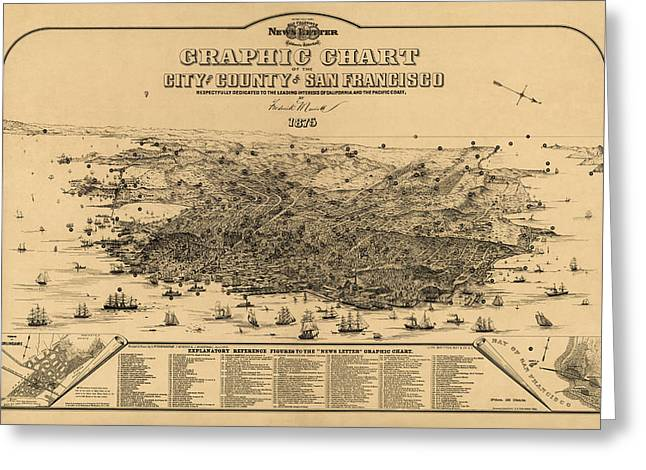 Frederick Drawings Greeting Cards - Antique Map of San Francisco by Frederick Marriott - 1875 Greeting Card by Blue Monocle