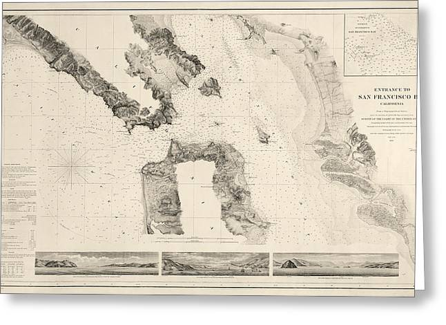 Golden Drawings Greeting Cards - Antique Map of San Francisco - USGS Coast Survey Map - 1859 Greeting Card by Blue Monocle