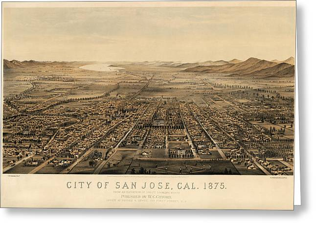 Recently Sold -  - California Art Greeting Cards - Antique Map of San Jose California by Charles B. Gifford - 1875 Greeting Card by Blue Monocle