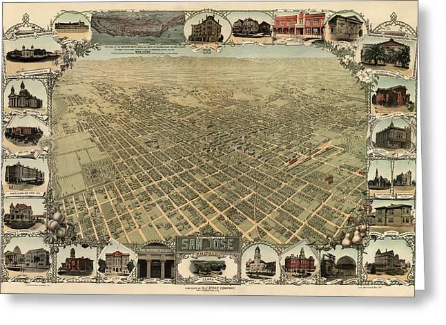 San Jose Greeting Cards - Antique Map of San Jose California - circa 1901 Greeting Card by Blue Monocle