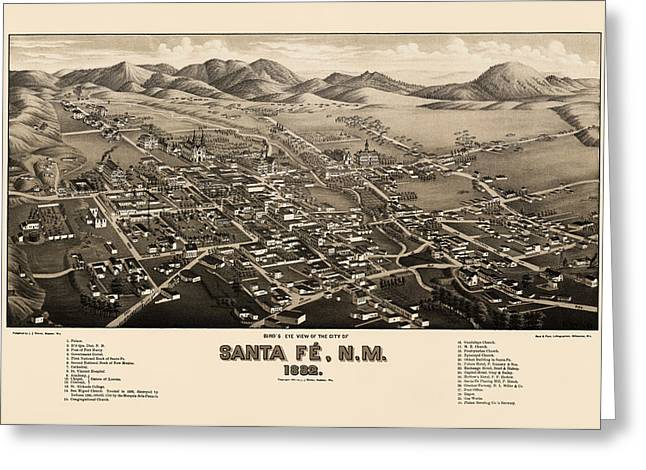 Santa Fe Greeting Cards - Antique Map of Santa Fe New Mexico by H. Wellge - 1882 Greeting Card by Blue Monocle