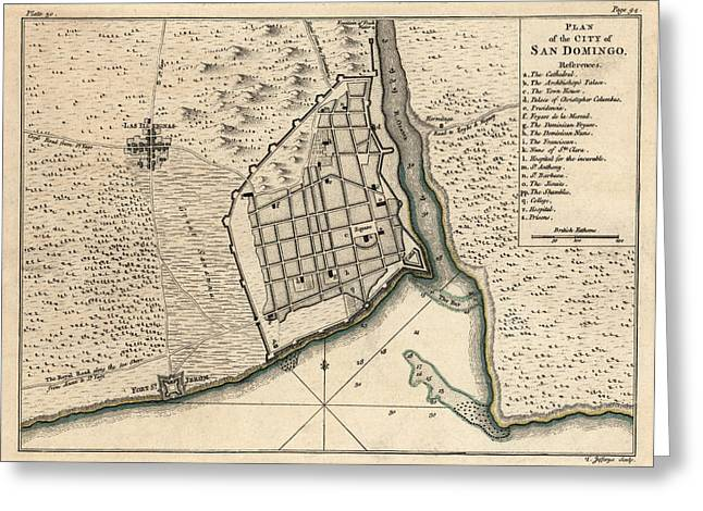 Hispaniola Greeting Cards - Antique Map of Santo Domingo Dominican Republic by Thomas Jefferys - 1768 Greeting Card by Blue Monocle
